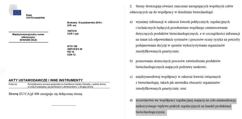 Dokument, uwzględniający zmianę tłumaczenia umowy CETA na język polski /Komisja Europejska /INTERIA.PL