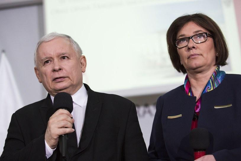 Jarosław Kaczyński i Beata Mazurek /Andrzej Hulimka/Reporter /East News
