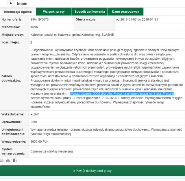 Ogłoszenie, które ukazało się na stronie PUP w Katowicach/ źródło: http://www.pup.katowice.pl/oferty/szczegoly/id/1511034 /INTERIA.PL