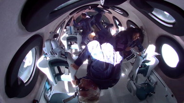 The first tourist flight into space.  Richard Branson aboard