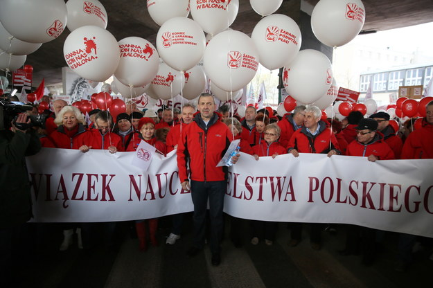 Protest nauczyciel /Tomasz Gzell /PAP