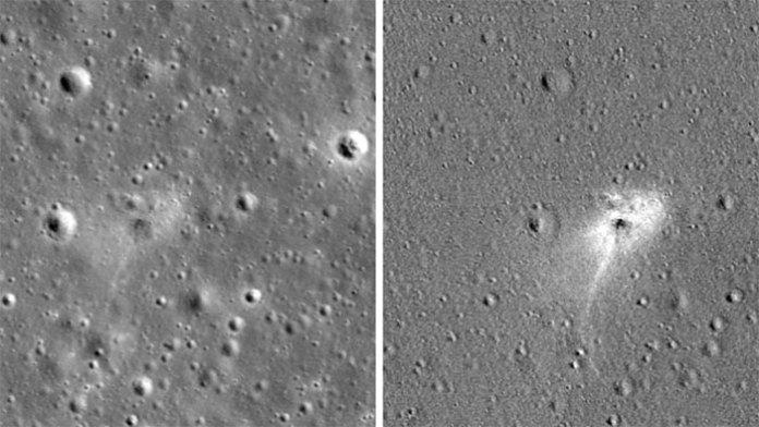 Hình ảnh bề mặt Mặt Trăng trước và sau khiBeresheet hạ cánh.