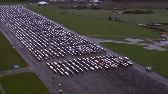 UK Airfield becomes the largest truck stop in the world, as drivers remain trapped at the French border