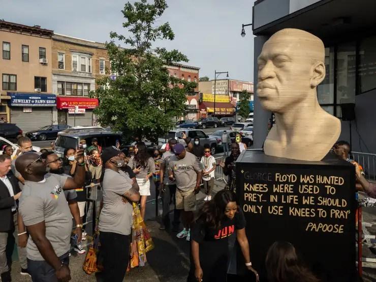 Vandalism of George Floyd Statue in Brooklyn Being Investigated as Hate Crime