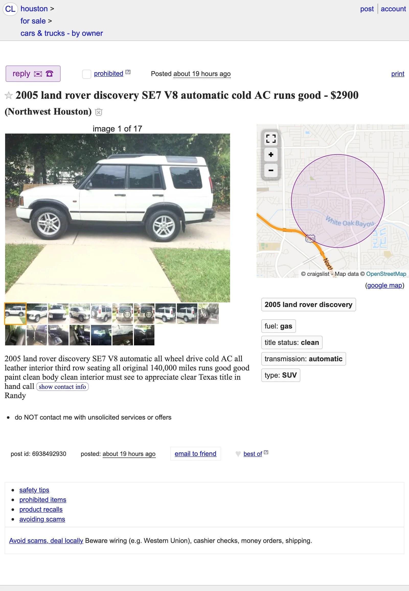 Craigslist Houston Texas Cars And Trucks For Sale By Owner : craigslist, houston, texas, trucks, owner, Maciej, Blair:, Rover, Craigslist