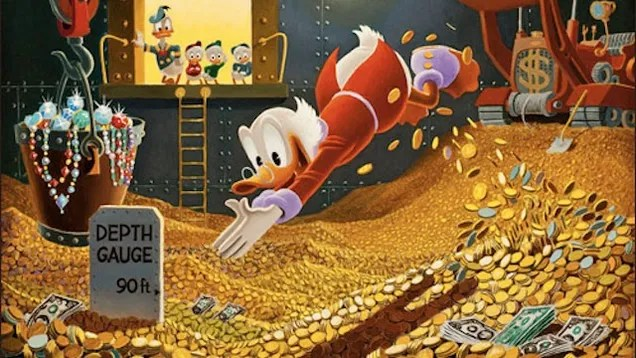 Scrooge McDuck jumping into a pile of money