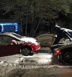 honda civic stuck in snow [ 1200 x 675 Pixel ]