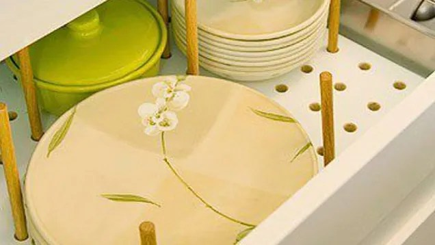 Store Dishes in Drawers with Pegboard