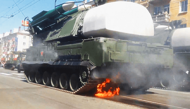 "SA-11 ""Buk"" Missile System Catches Fire During Victory Day Parade"