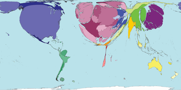 A World Map Based on Scientific Research Papers Produced