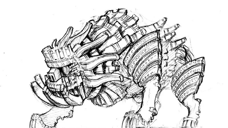 The Slightly Late Shadow Of The Colossus Concept Sketch