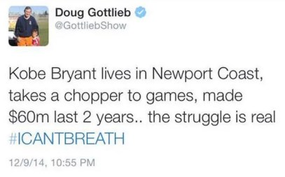 "Doug Gottlieb Has Thoughts On Kobe Wearing An ""I Can't Breathe"" Shirt"