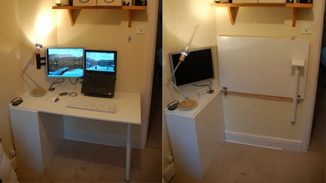 Make a Foldable SpaceSaving Desk Out of Kitchen Cabinet