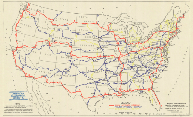 First Proposed US Highway Network Map SoCalGISorg - Us continental divide map