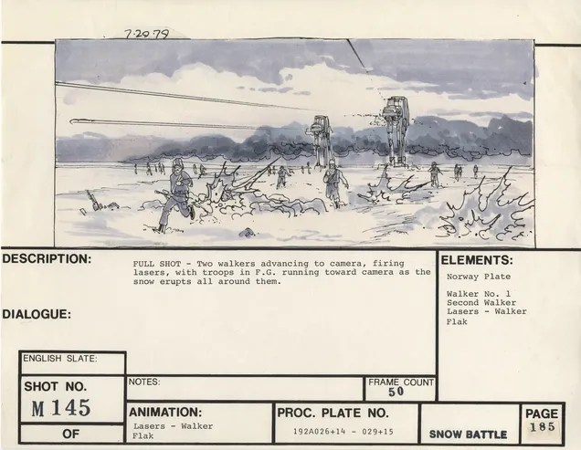 Storyboard card with AT-ATs attacking fleeing rebels and descriptive text