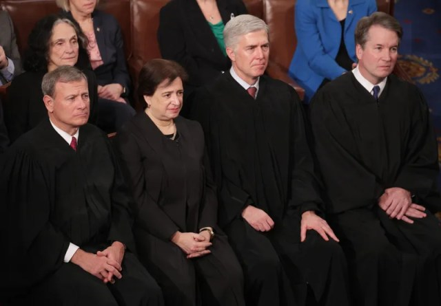 Supreme Court Justices John Roberts, Elena Kagan, Neil Gorsuch, and Brett Kavanaugh at the State of the Union address in the chamber of the U.S. House of Representatives on February 5, 2019 in Washington, D.C.