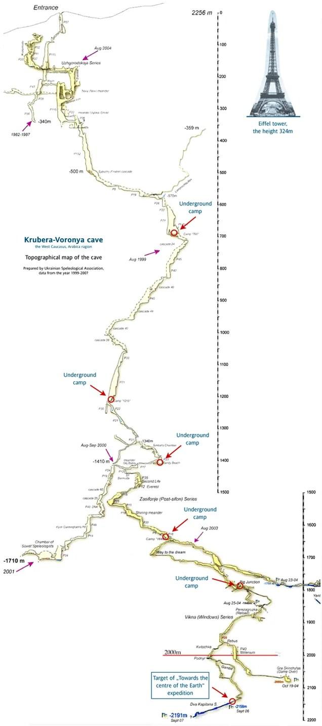 Así es el mapa de la cueva más profunda del planeta