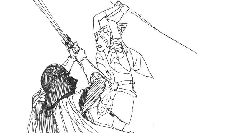 The Art That Inspired Ahsoka and Darth Vader's Epic Duel