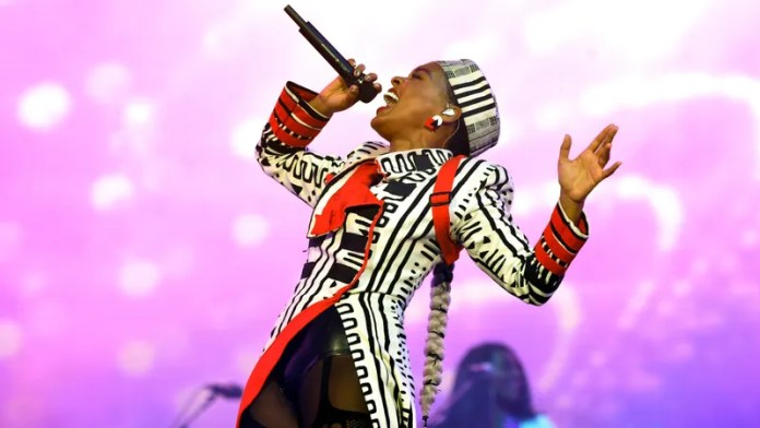 Janelle Monáe performing at Coachella 2019.