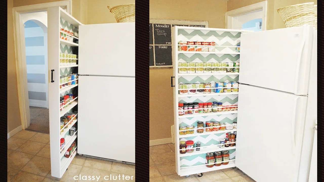 Build A Space-Saving Roll-Out Pantry That Fits Between The