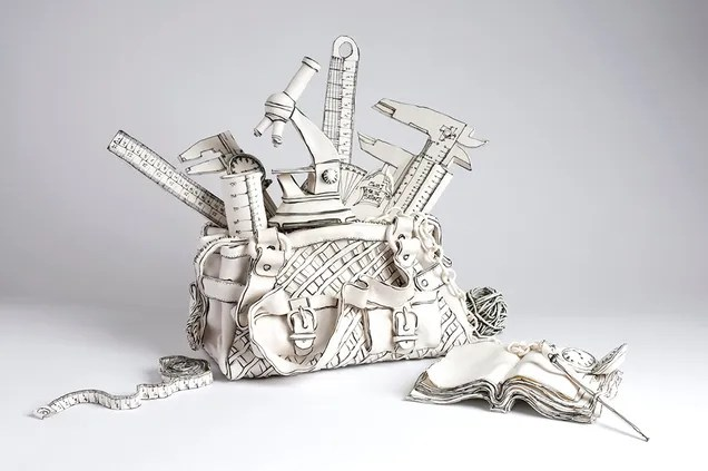 These drawings are actually porcelain sculptures