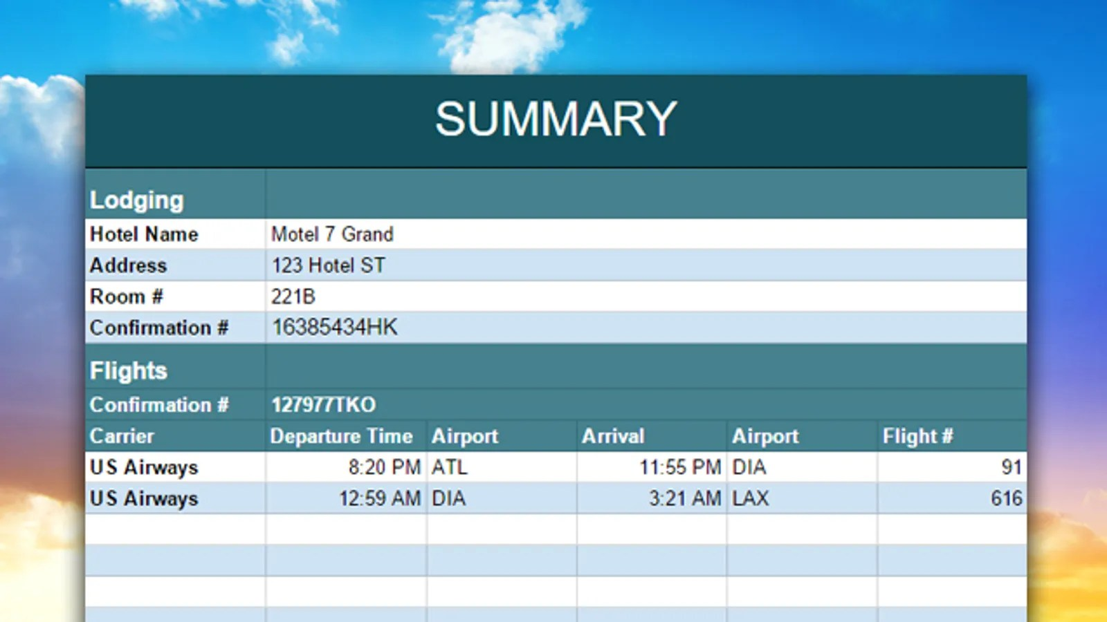 Organize And Share Your Vacation With This Travel Planning Spreadsheet