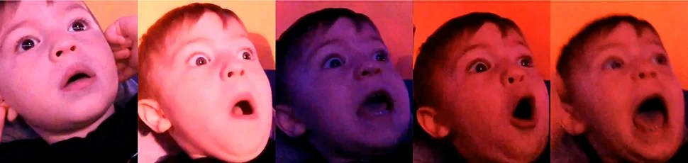 Two-year-old kid flips out when he watches fireworks for the first time