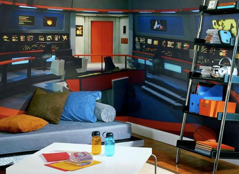 Teen Bedroom Diagram Star Trek Mural Transforms Any Room Into Nerd Womb