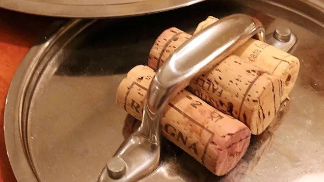 kitchen pots anaheim hotels with near disneyland turn old wine corks into built-in pot holders