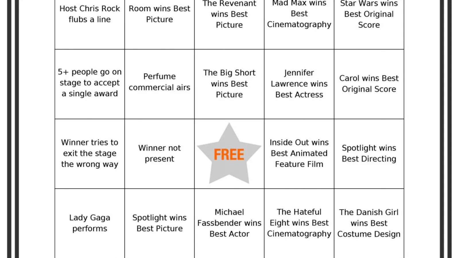 Liven Up Your Oscar Night Party With These Printable Bingo