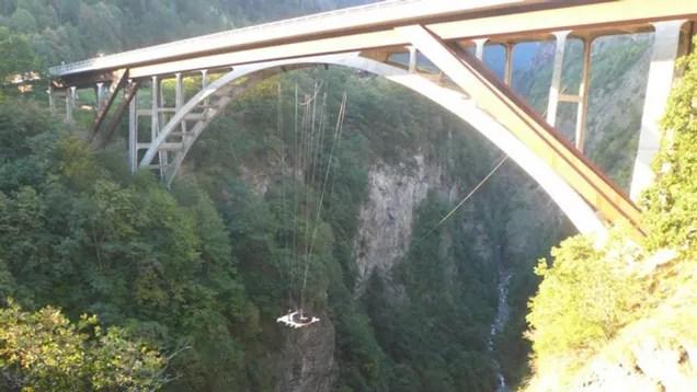 Crazy Swiss Swingers Suspend Hot Tub from Bridge