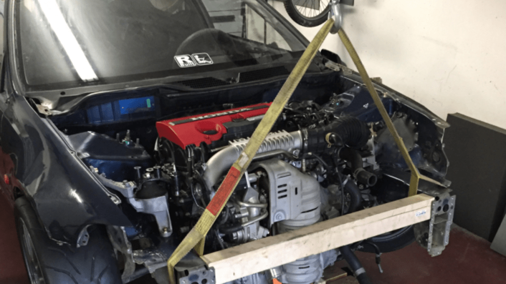 medium resolution of this madman is stuffing a new honda civic type r motor into a 1992 civic hatch