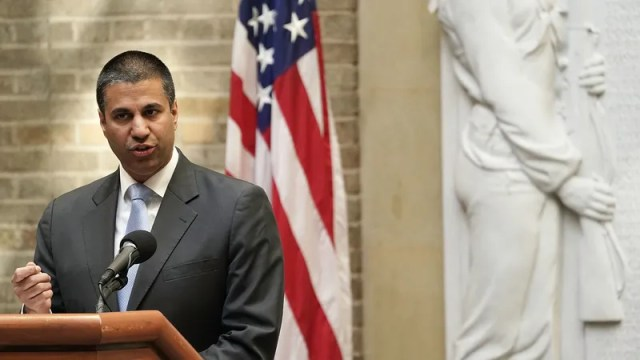"FCC Chairman Ajit Pai's ""I'm serious about robocalls"" face."