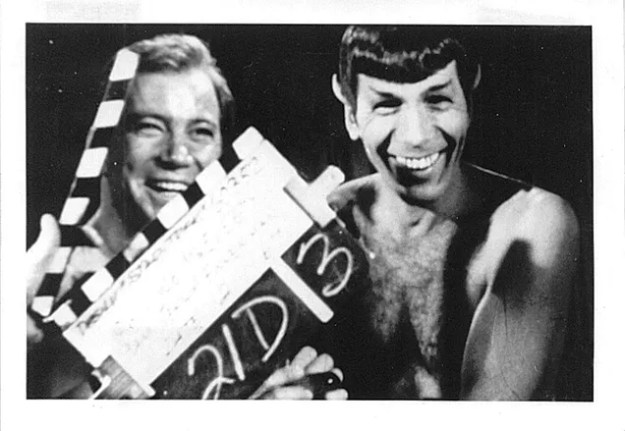 Shatner and Nimoy laughing during filming of