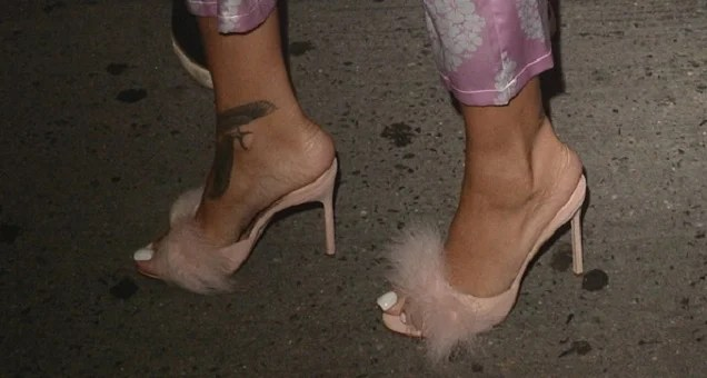 Rihanna Heads to Studio in Fuzzy Kitten Heels and Pajamas