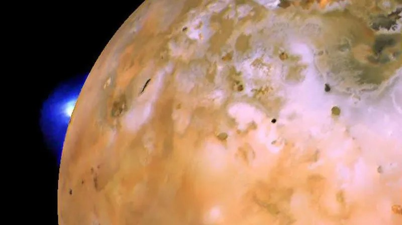 The Loki volcano erupting on Io in 1979, as captured by NASA's Voyager 1 spacecraft.