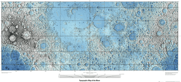 Lunar topographic map
