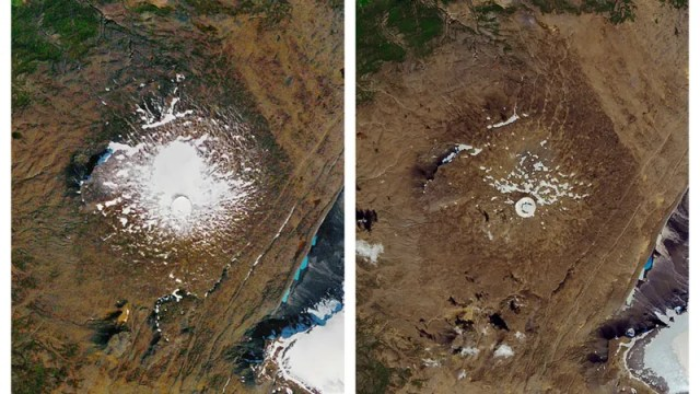 The shrinking of the Okjökull glacier from Sept. 14, 1986 (left) to Aug. 1, 2019.