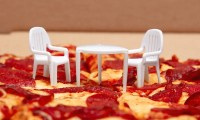 Tiny pizza box tables get matching chairs from Boston Pizza