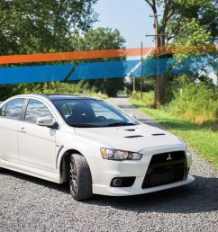 the mitsubishi lancer evo x final edition says goodbye with its middle finger in the air [ 1600 x 900 Pixel ]