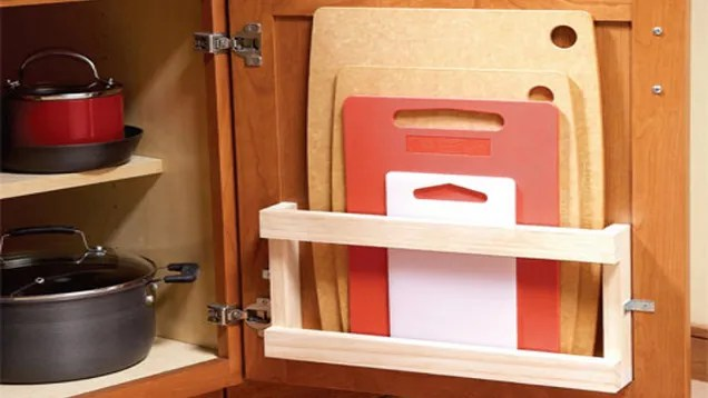 Store Cutting Boards in Your Cabinets with a Magazine Rack