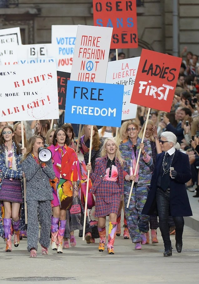 Karl Lagerfeld's Chanel Show Ends With Co-Opted Faux-Feminist March