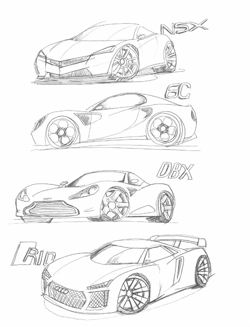 Sketches of every brand\'s supercar part i