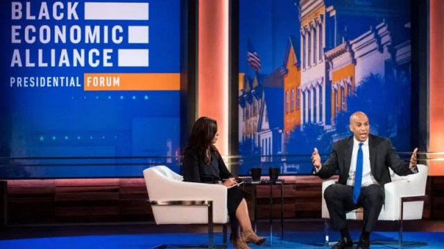 Democratic presidential candidate U.S. Sen. Cory Booker (D-N.J.) participates in the Black Economic Alliance Forum, taking questions from Soledad O'Brien, June 15, 2019, in Charleston, S.C.