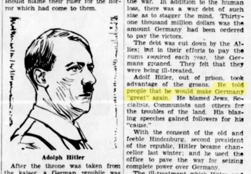 Yes, Adolf Hitler Really Said He Would 'Make Germany Great