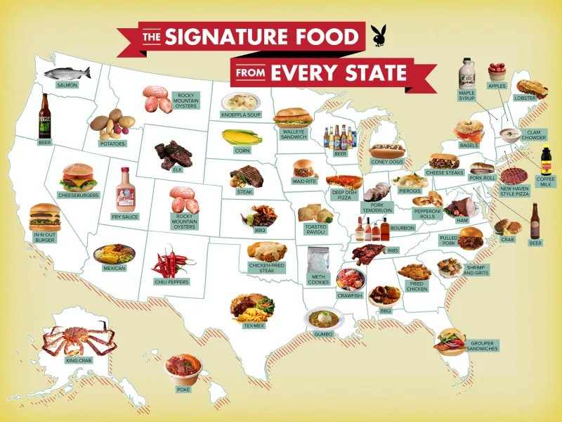 map that shows the signature food from each state in usa