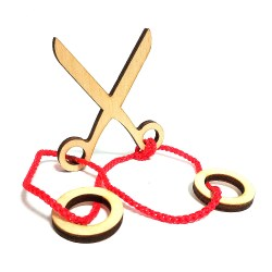 Верёвочная мини-головоломка Ножницы