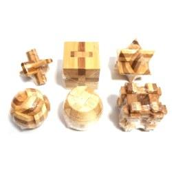 Набор из 6 бамбуковых головоломок в мешочке