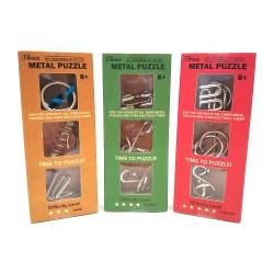 Дисплей из 18 упаковок металлических головоломок (3 вида)