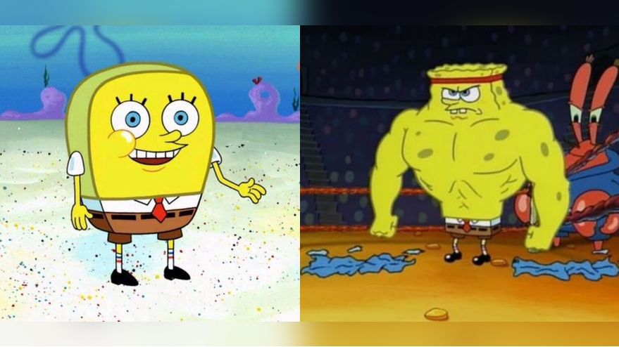 increasingly buff spongebob know